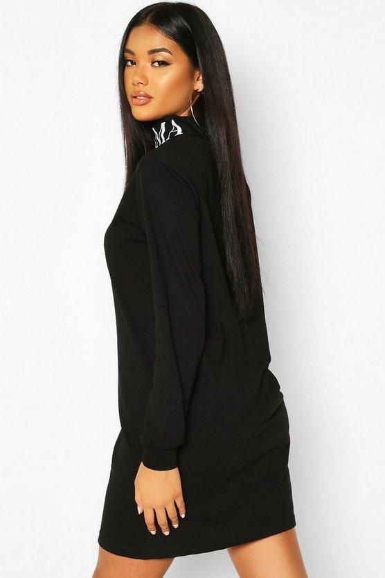 High Neck Slogan Long Sleeve T-Shirt Dress