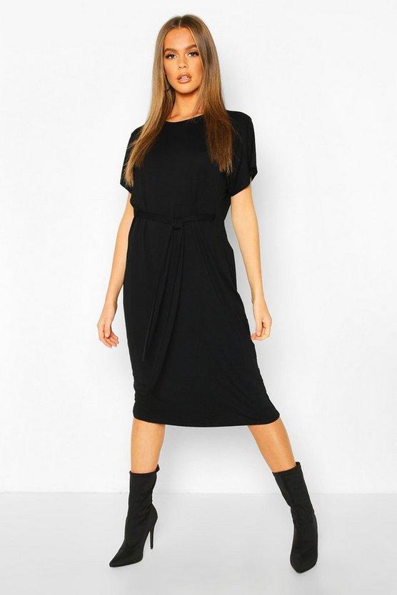 Tie Waist Curve Hem T-Shirt Dress
