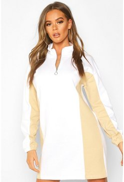 Camel Zip High Neck Colour Block Panel Sweatshirt Dress
