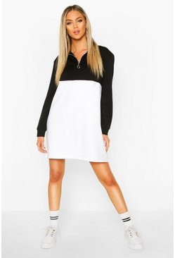 Womens Black O Ring Zip Colour Block Sweatshirt Dress