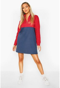 Red O Ring Zip Colour Block Sweatshirt Dress