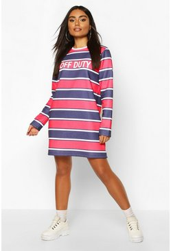 Womens Navy Stripe Slogan Sweatshirt Dress