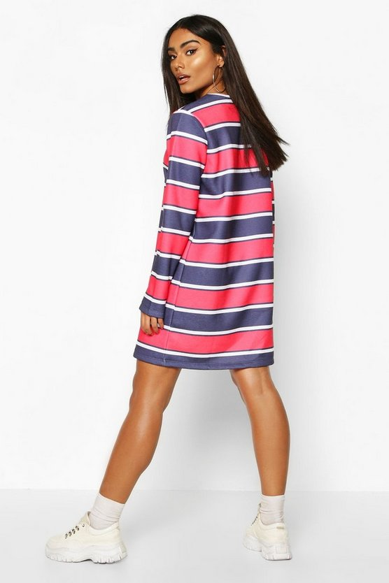Stripe Slogan Sweatshirt Dress