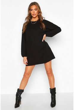 Womens Black Marl Balloon Sleeve Sweatshirt Dress