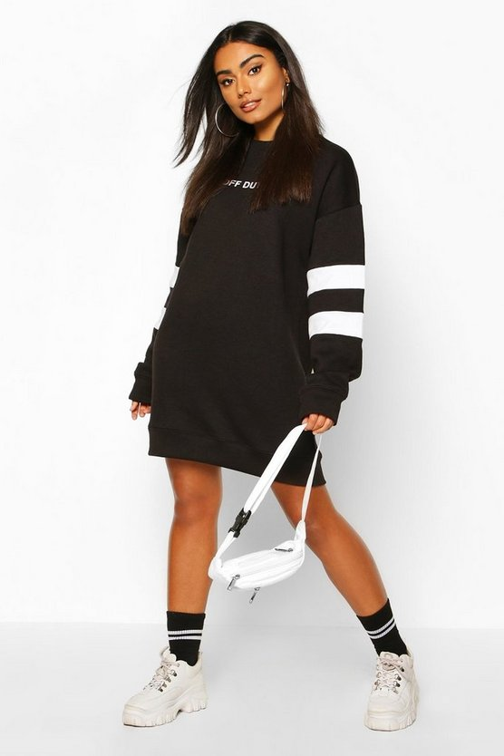 Womens Black Stripe Sleeve Slogan Sweatshirt Dress