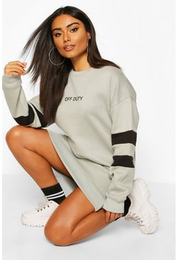 Womens Sage Stripe Sleeve Slogan Sweatshirt Dress
