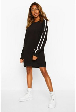 Womens Black Crewe Neck Side Stripe Sweatshirt Dress