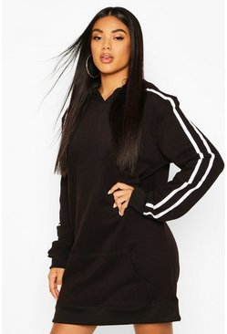 Womens Black Hooded Stripe Pocket Sweatshirt Dress