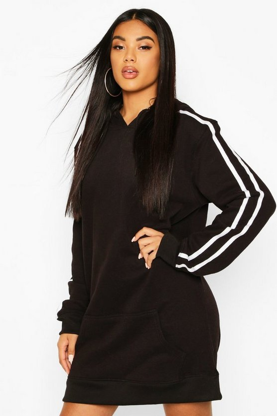Hooded Stripe Pocket Sweatshirt Dress