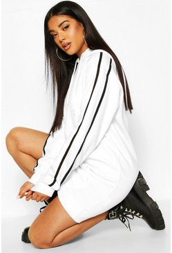Womens White Hooded Stripe Pocket Sweatshirt Dress