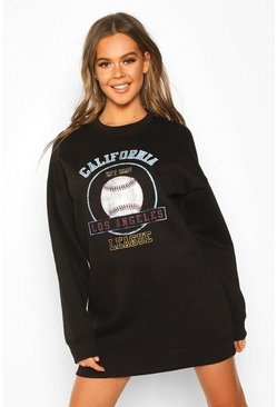 Womens Black Baseball Printed Oversized Sweatshirt Dress