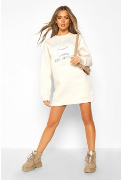 Womens Off white Baseball Printed Oversized Sweatshirt Dress