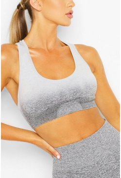 Womens Grey Fit Seamfree Ombre Medium Support Sports Bra
