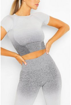 Womens Grey Fit Seamfree Ombre Gym Tee