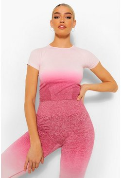 Pink Fit Seamfree Ombre Gym Tee