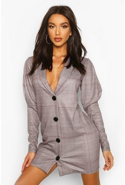 Grey Check Print Puff Sleeve Blazer Dress