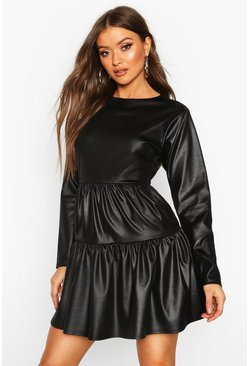 Womens Black Coated Balloon Sleeve Tiered Smock Dress