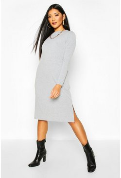 Womens Grey Long Sleeve Pocket Midi T-shirt Dress