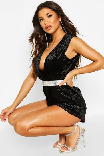 Black Crushed Velvet Plunge Wrap Playsuit