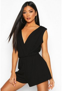 Womens Black Plunge Wrap Playsuit