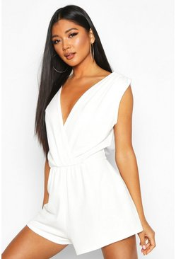 Womens Cream Plunge Wrap Playsuit