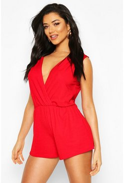 Red Plunge Wrap Playsuit