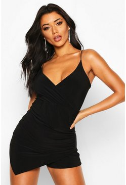 Black Ruched Wrap Skort Playsuit