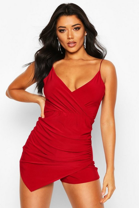 Wine Ruched Wrap Skort Playsuit