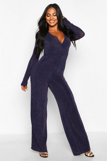 Womens Navy Glitter Wrap Front Wide Leg Jumpsuit