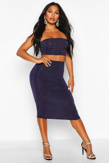 Womens Navy Glitter Midaxi Skirt