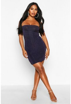 Womens Navy Glitter Mini Skirt