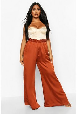 Womens Rust Satin High Waisted Wide Leg Trousers