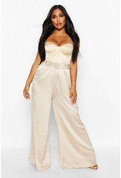 Womens Stone Satin High Waisted Wide Leg Trousers