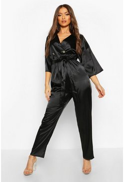 Womens Black Satin Wrap Jumpsuit