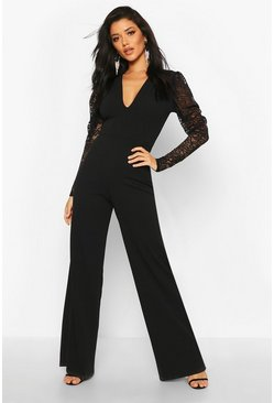 Black Plunge Front Lace Sleeve Wide Leg Jumpsuit