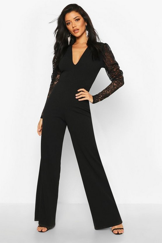 Plunge Front Lace Sleeve Wide Leg Jumpsuit