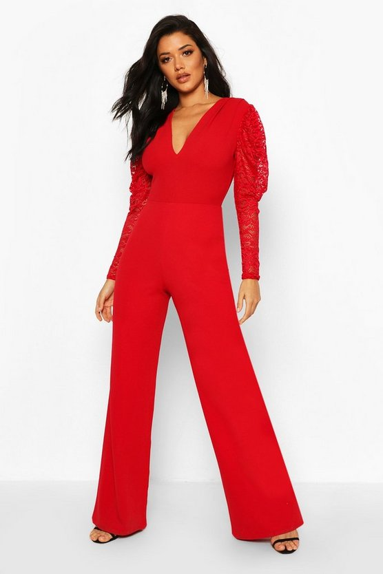 Red Plunge Front Lace Sleeve Wide Leg Jumpsuit