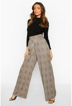 Black Dogtooth Pleat Front Wide Leg Trousers