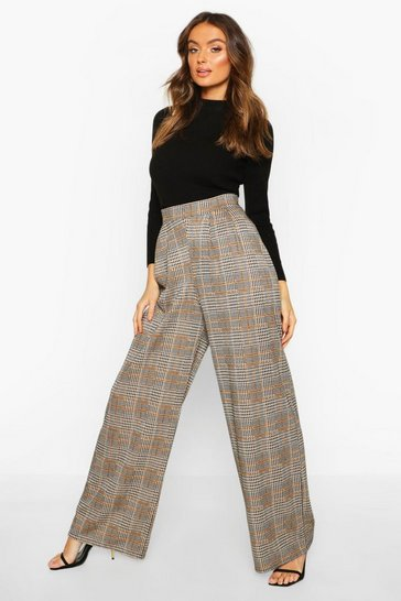 Womens Black Dogtooth Pleat Front Wide Leg Trousers
