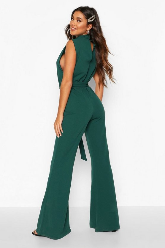 High Neck Plunge Side Wide Leg Jumpsuit