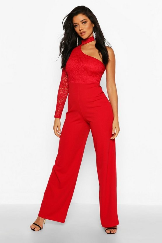 One Shoulder Lace Wide Leg Trouser Jumpsuit