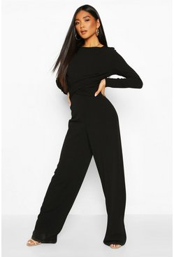 Womens Black Knot Front Wide Leg Jumpsuit