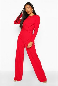 Red Knot Front Wide Leg Jumpsuit
