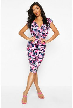 Womens Black Floral Print Wrap Front Midi Dress
