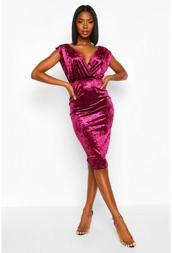 Womens Berry Velvet Wrap Top Midi Dress