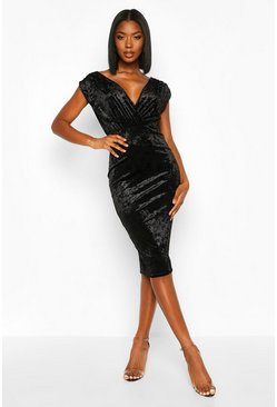 Womens Black Velvet Wrap Top Midi Dress
