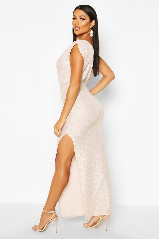 Metallic Wrap Front Maxi Dress