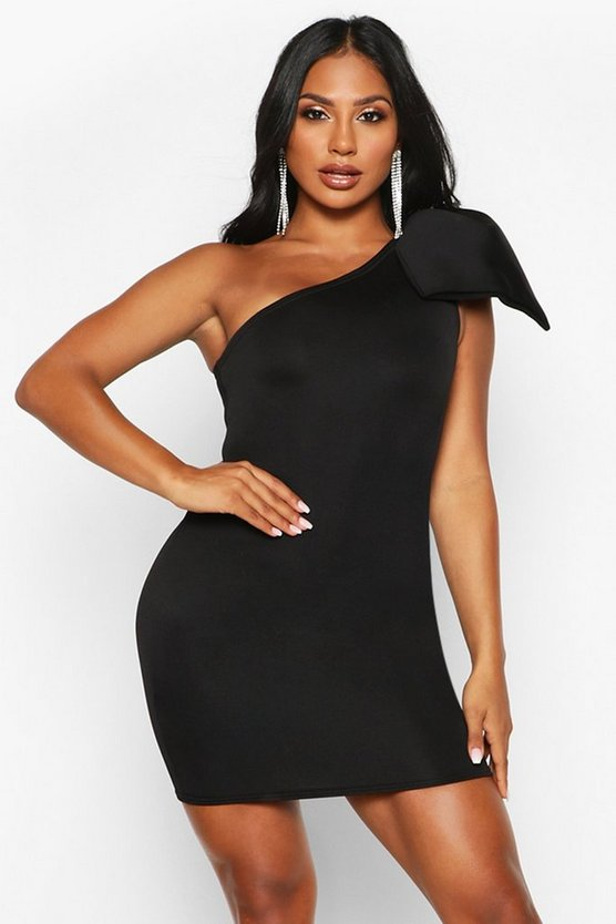 Black Bow One Shoulder Mini Dress