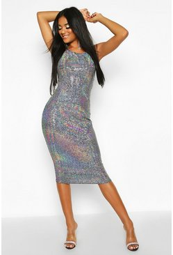 Womens Silver Backless Holographic Midi Dress