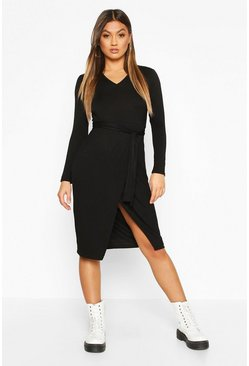 Black Wrap Belted Long Sleeve Midi T-shirt Dress
